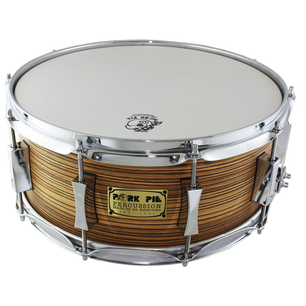 "Pork Pie 6"" x 14"" Custom Zebrawood Snare Drum"