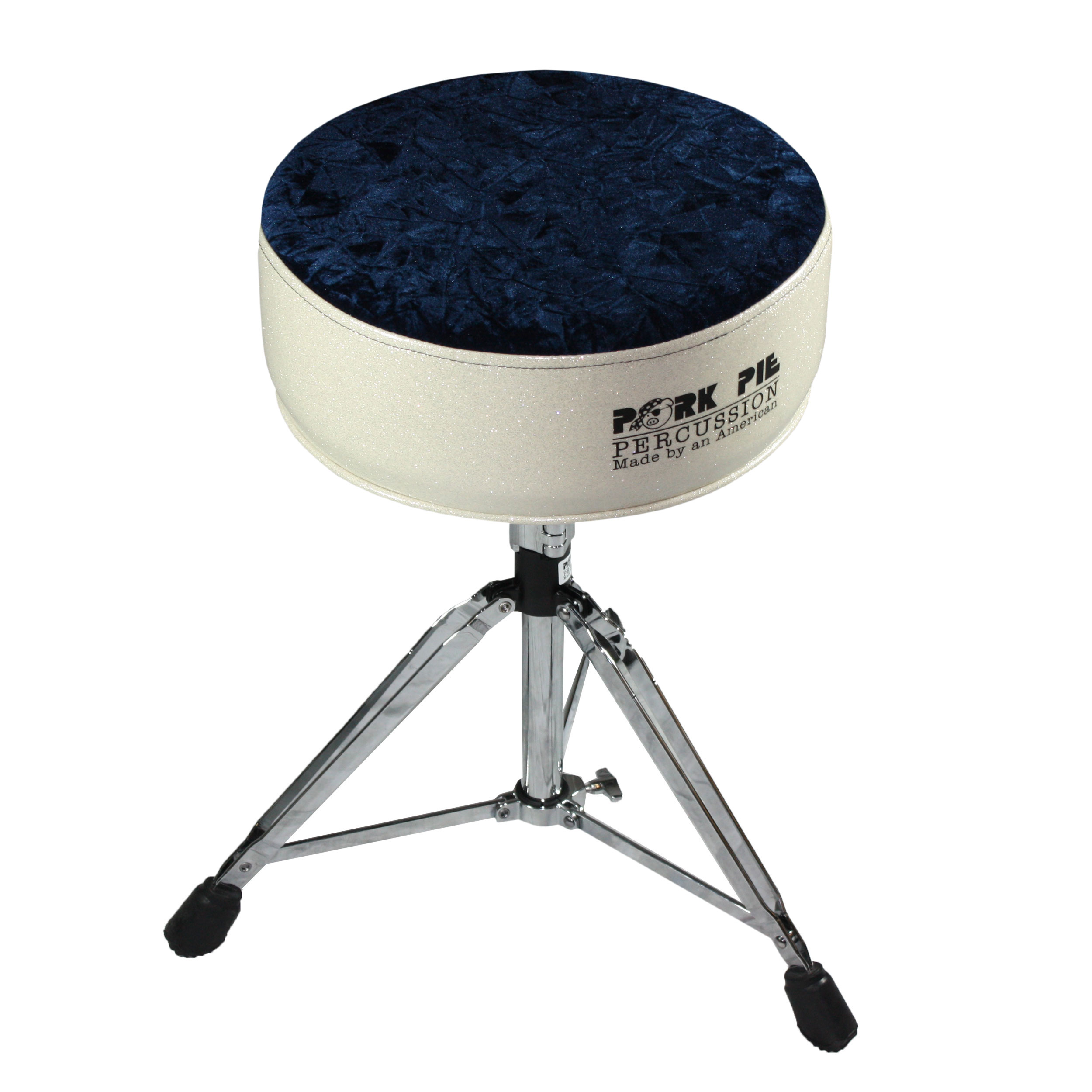 Pork Pie Round Top Silver/Navy Crush Drum Throne