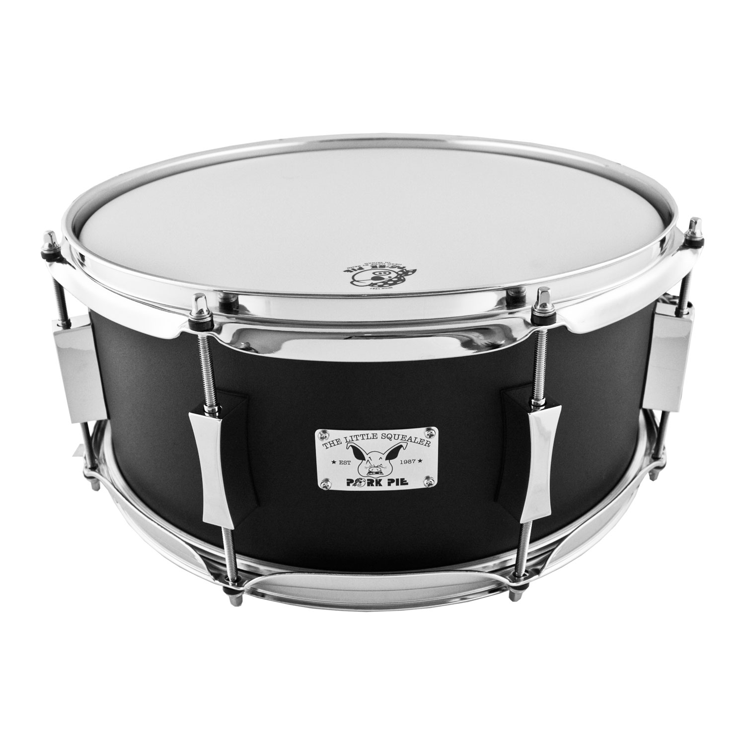 "Pork Pie Percussion 6"" x 14"" Little Squealer Steel Snare Drum in Black Wrinkle Powder Coat"