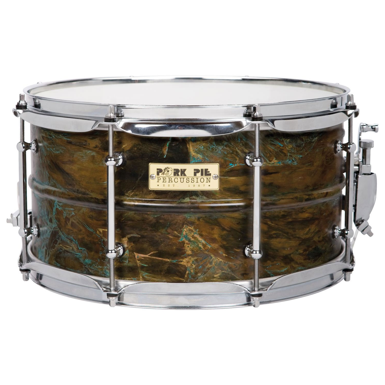 "Pork Pie 7"" x 13"" Patina Brass Snare Drum"