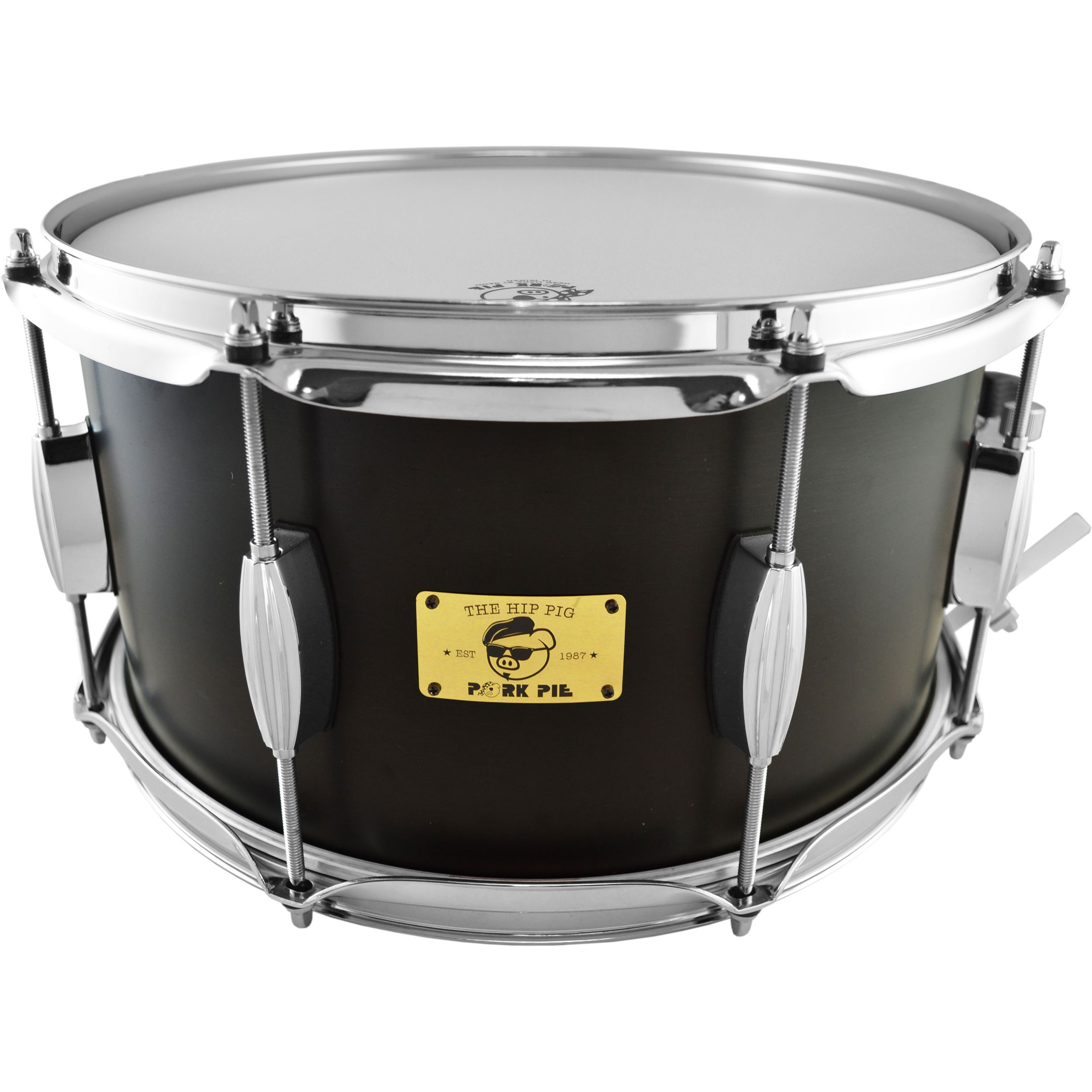 "Pork Pie Percussion 7"" x 13"" Hip Pig Snare Drum in Black Ebony Stain"