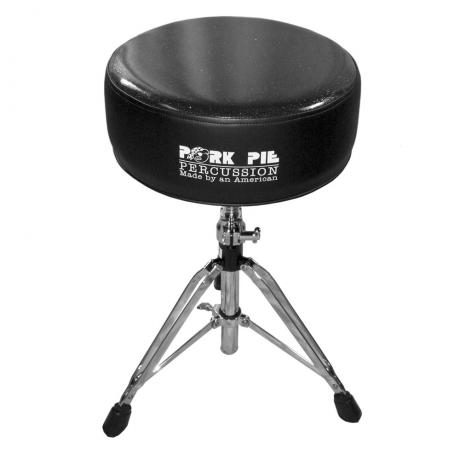 Pork Pie Percussion Round Top Vinyl Black Side/Black Sparkle Top Drum Throne