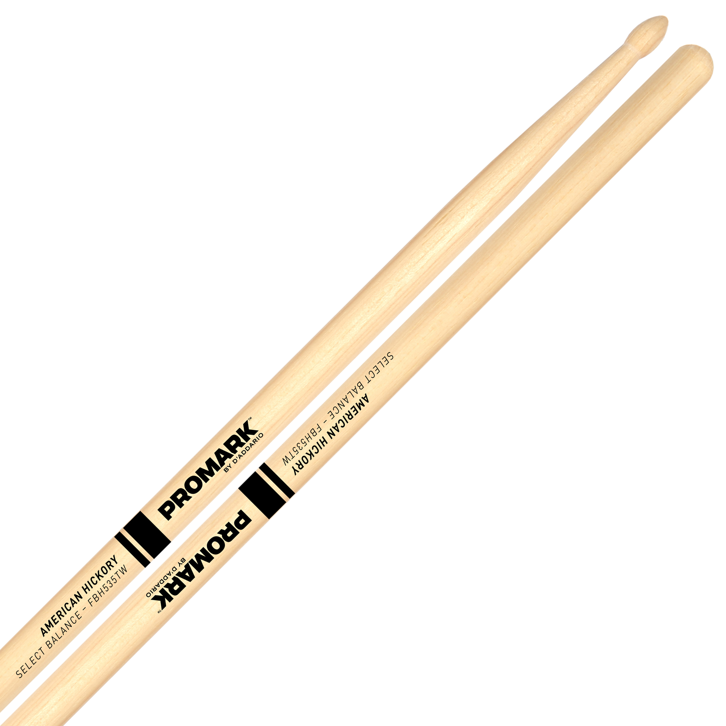 "Promark Forward 7A (.535"") Hickory Drumsticks with Teardrop Wood Tips"