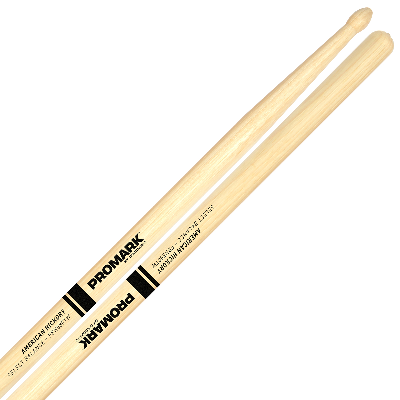 "Promark Forward 55A (.580"") Hickory Drumsticks with Teardrop Wood Tips"