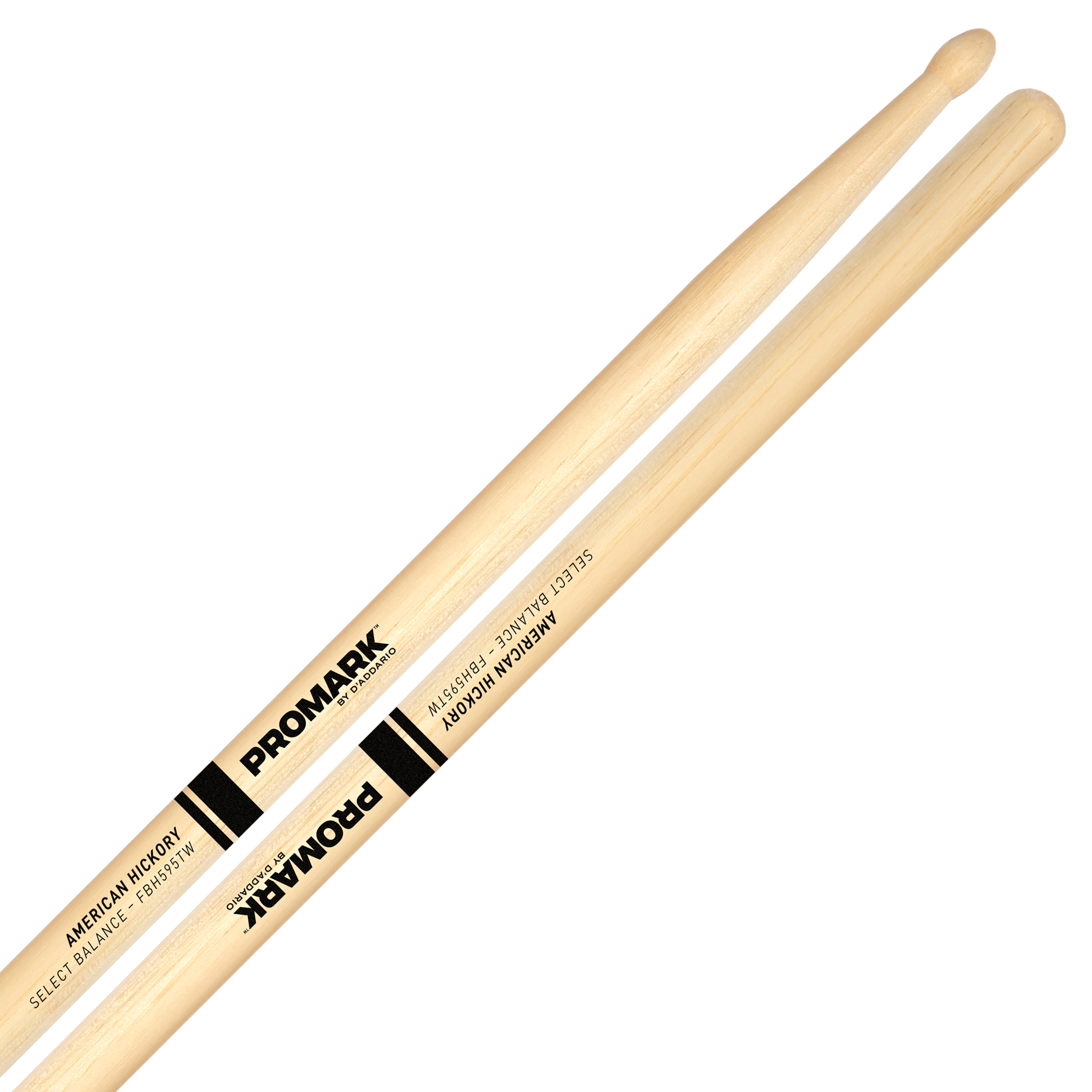 "Promark Forward 5B (.595"") Hickory Drumsticks with Teardrop Wood Tips"