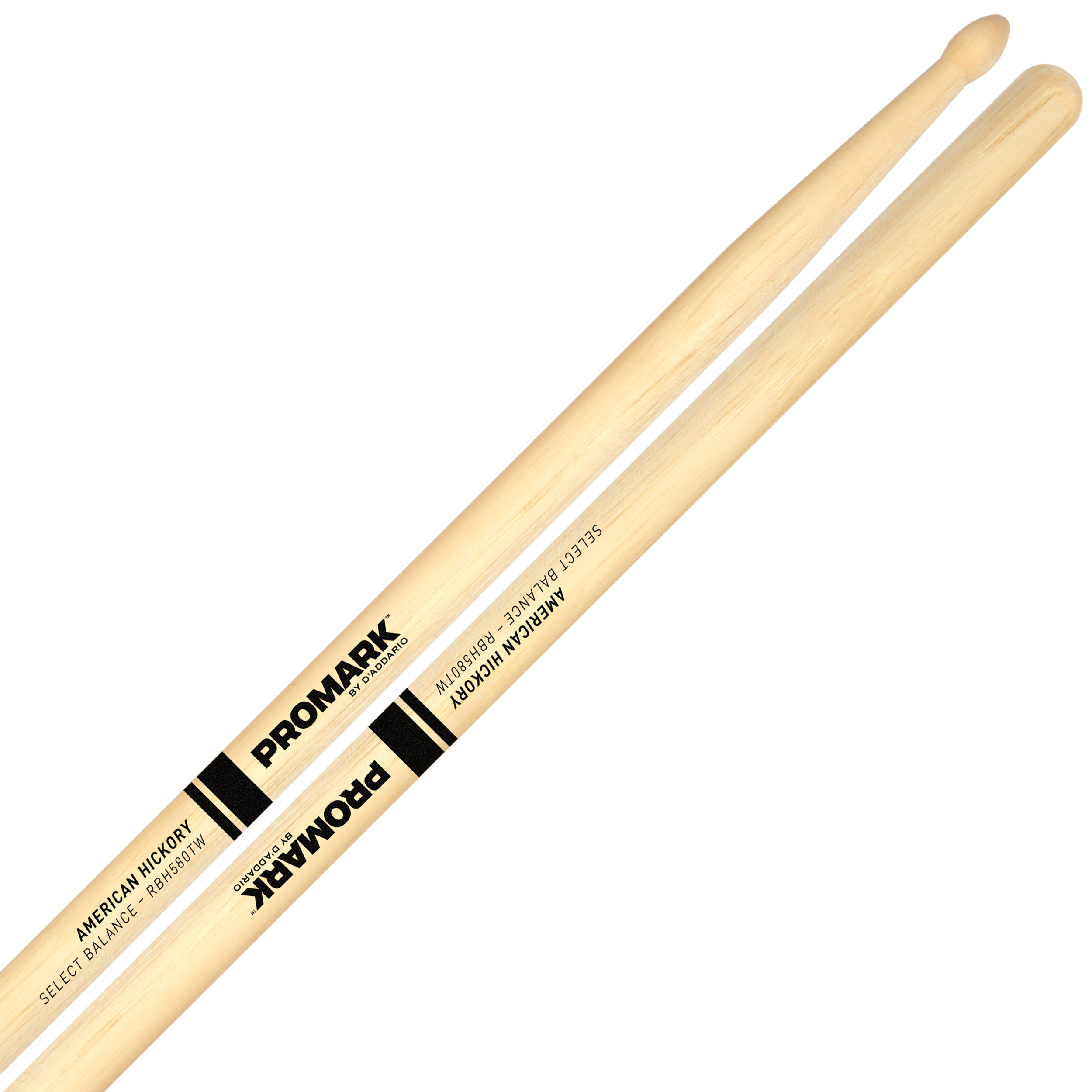 "Promark Rebound 55A (.580"") Hickory Drumsticks with Teardrop Wood Tips"