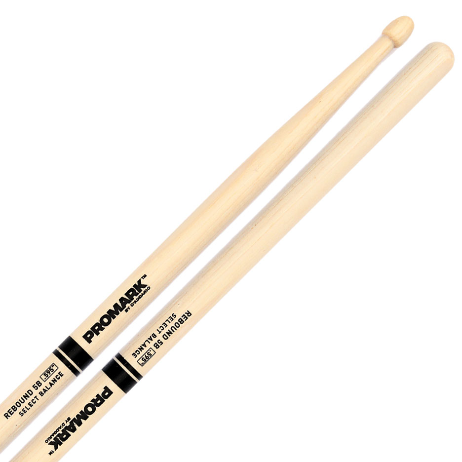 "Promark Rebound 5B (.595"") Hickory Drumsticks with Acorn Wood Tips"