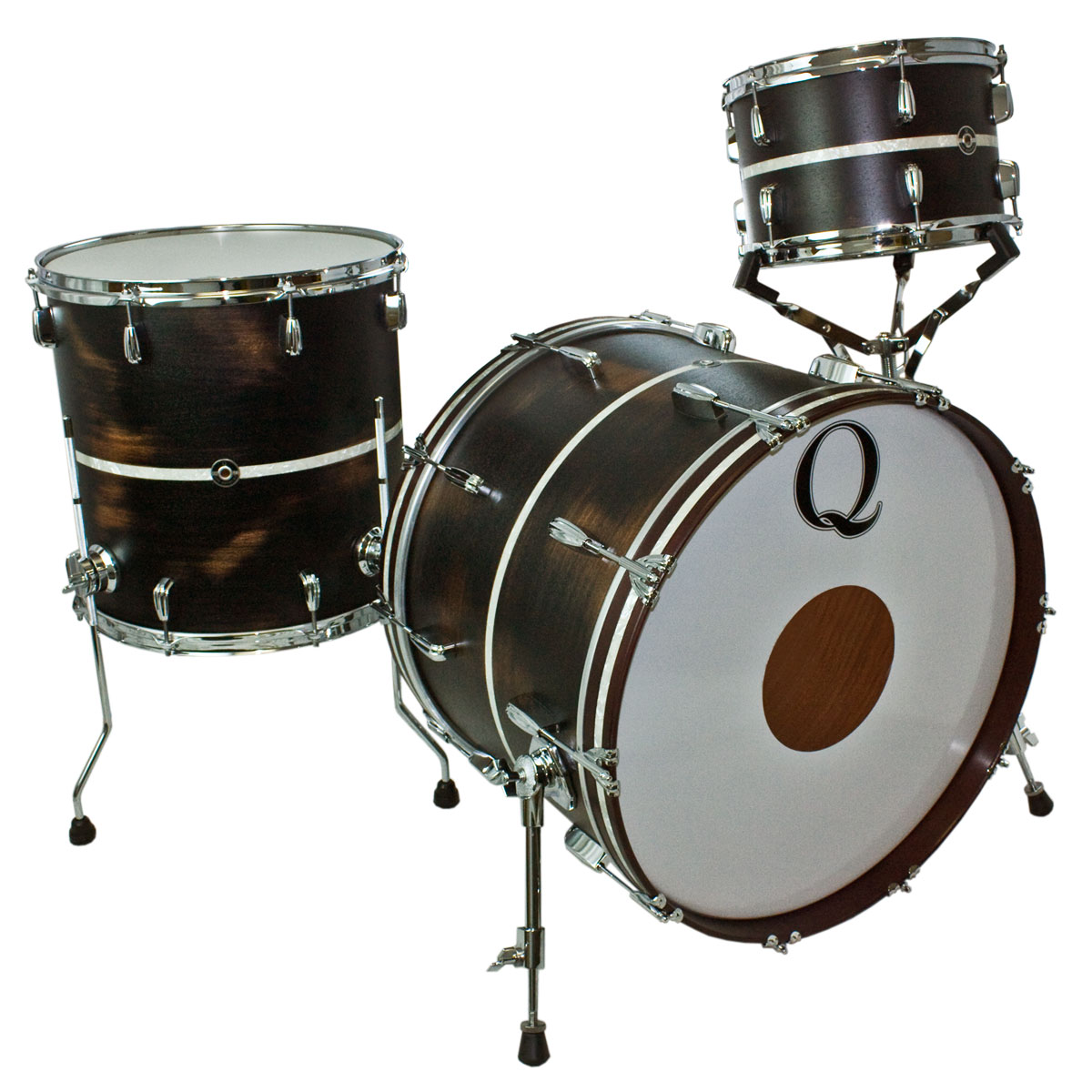 "Q Drum Co. Mahogany/Poplar 3-Piece Drum Set Shell Pack (22"" Bass, 12/16"" Toms) in Distressed Black Satin/Antique White Pearl Inlay"