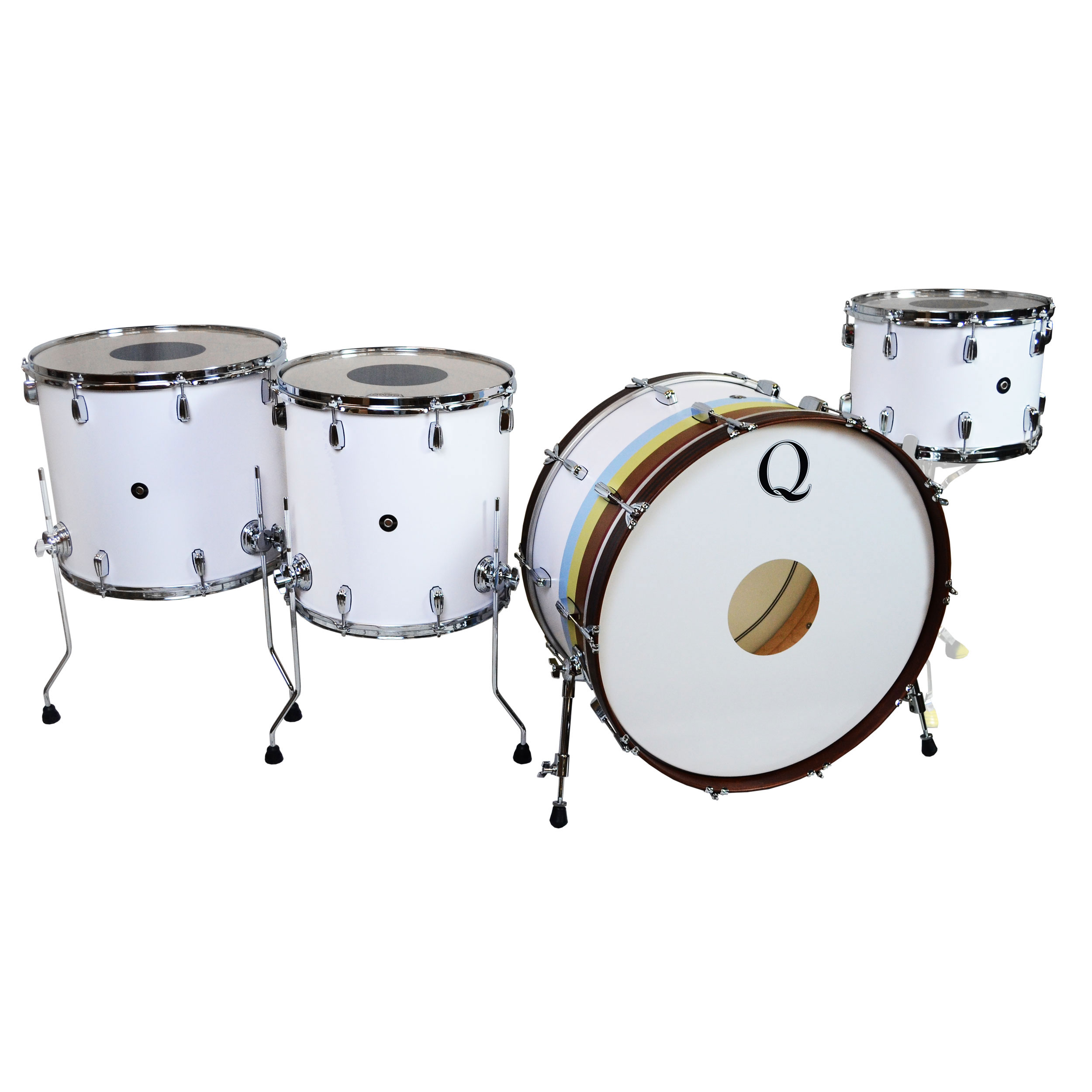 "Q Drum Co. Maple 4-Piece Drum Set Shell Pack (26"" Bass, 14/16/18"" Toms) in Flat White & 1974 Stripes"