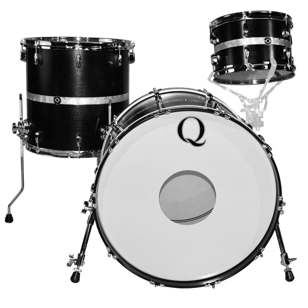 "Q Drum Co. Mahogany/Poplar Drum Set Shell Pack (22"" Bass, 12/16"" Toms) in Black Satin Stain with Engine Turned Inlay"