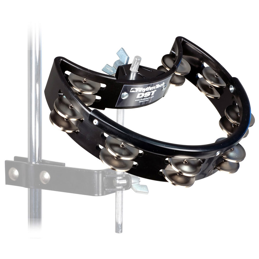 RhythmTech Black Drum Set Tambourine with Nickel-Plated Steel Jingles