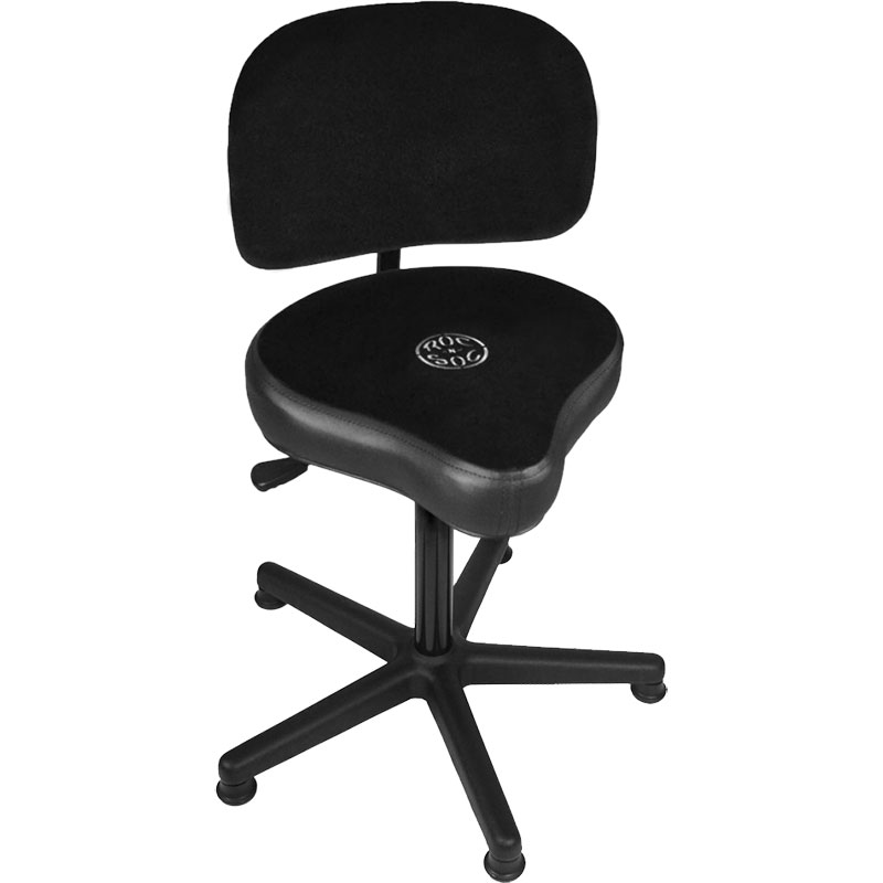 Roc-n-Soc Lunar Extended Gas Lift Timpani/Drum Throne with Hugger Seat & Back Rest in Black
