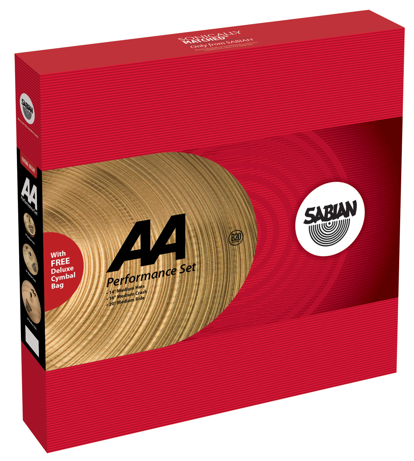 Sabian AA Performance Pack 3-Piece Cymbal Box Set (Hi Hats, Crash, Ride)