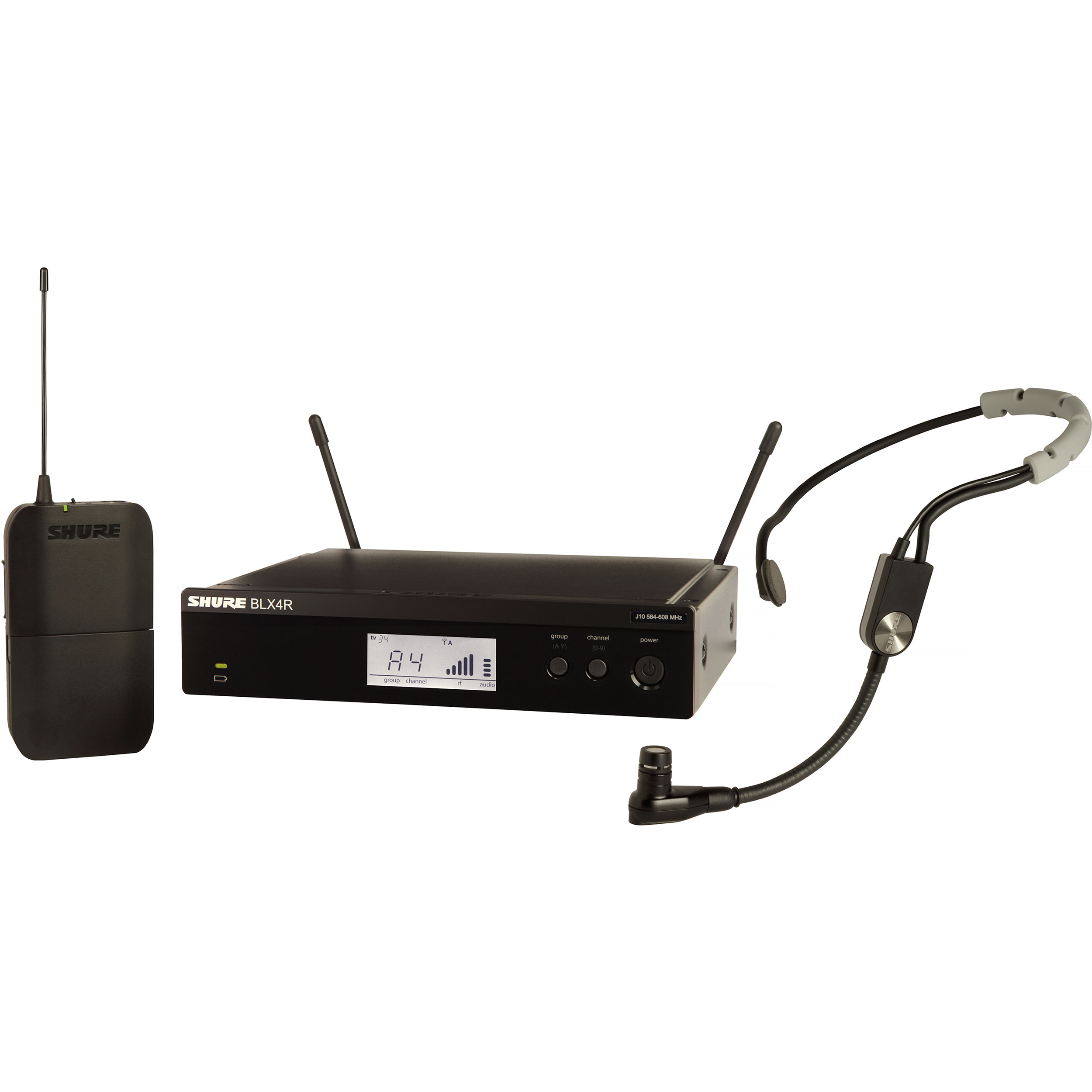 Shure BLX Wireless System with SM35 Headset Microphone, BLX1 Bodypack Transmitter, and BLX4R Receiver