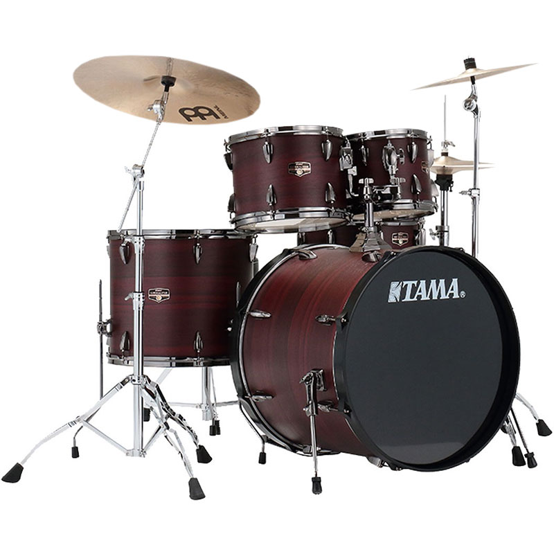 """Tama Imperialstar 5-Piece Drum Set with Hardware and Cymbals (22"""" Bass, 10/12/16"""" Toms, 14"""" Snare) in Burgundy Walnut"""