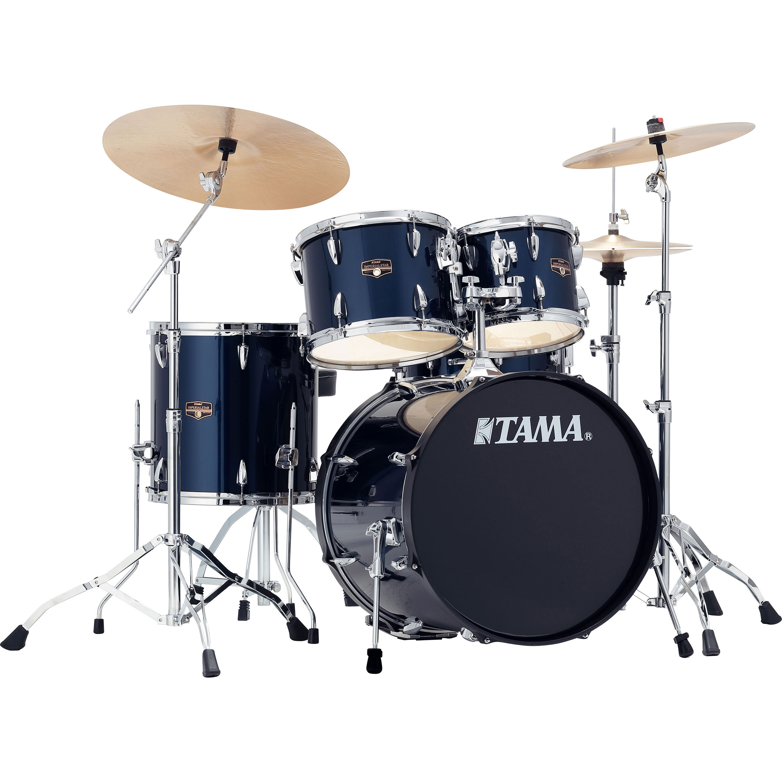 tama imperialstar 5 piece drum set with hardware and cymbals 20 10 12 14 14. Black Bedroom Furniture Sets. Home Design Ideas