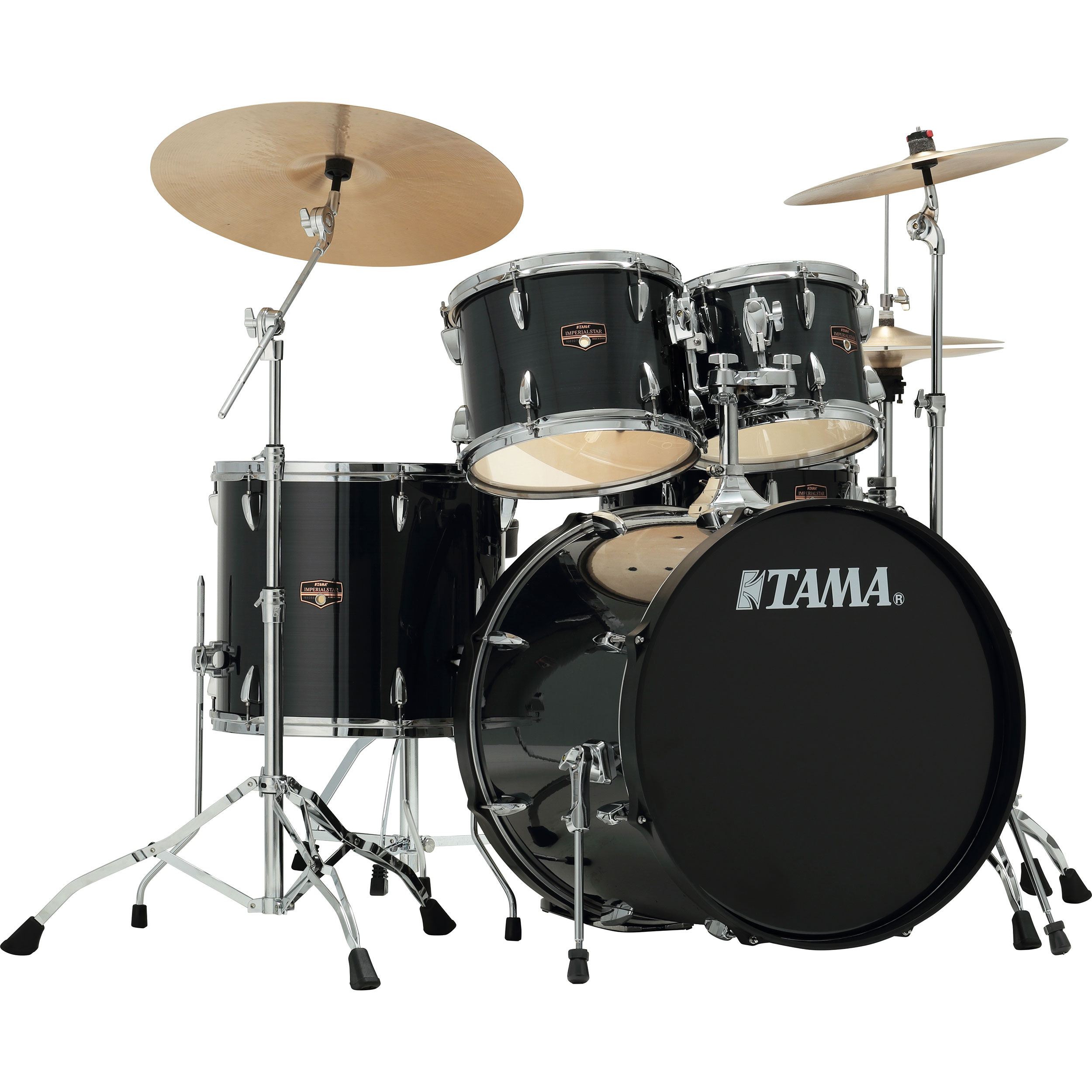 tama imperialstar 5 piece drum set with hardware and cymbals 22 bass 10 12 16 toms 14 snare. Black Bedroom Furniture Sets. Home Design Ideas
