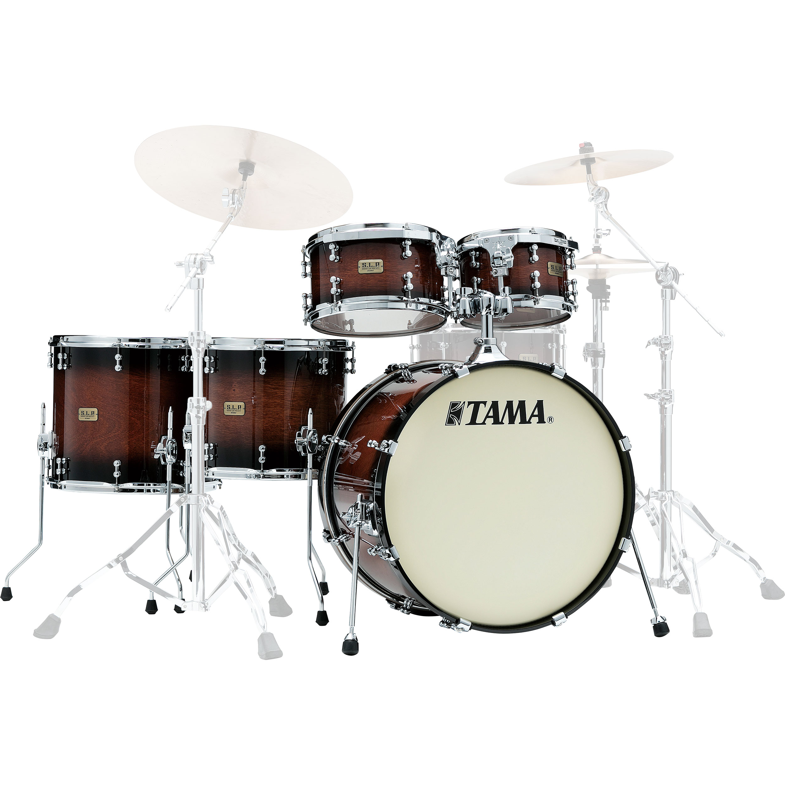 "Tama S.L.P. Dynamic Kapur 5-Piece Drum Set Shell Pack (22"" Bass, 10/12/14/16"" Toms) in Gloss Black Kapur Burst"