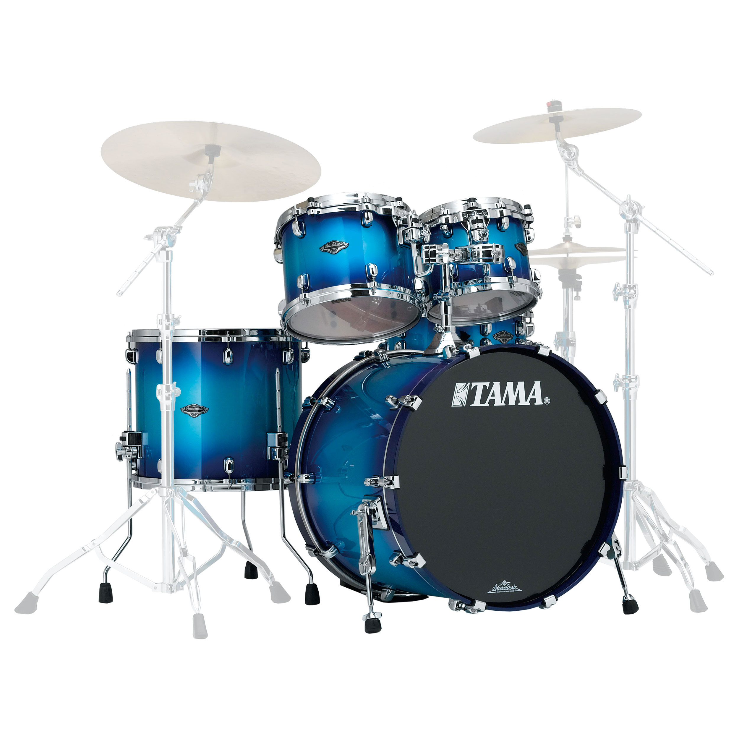 "Tama Starclassic Performer B/B 4-Piece Drum Set Shell Pack (22"" Bass, 10/12/16"" Toms) in Transparent/Solid Finish"