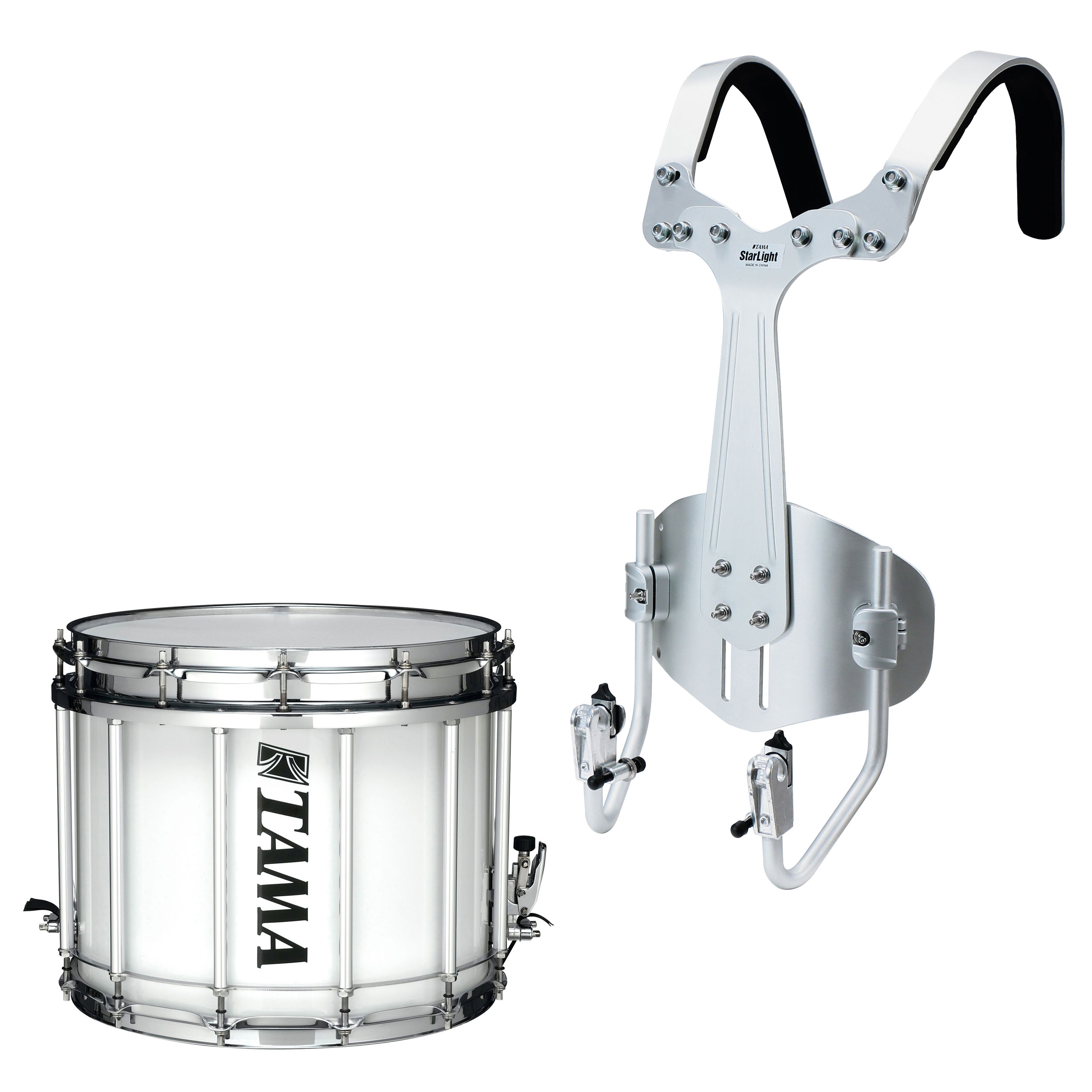 "Tama 12"" (Deep) x 14"" (Diameter) StarLight Marching Snare Drum in Sugar White Wrap with Carrier"