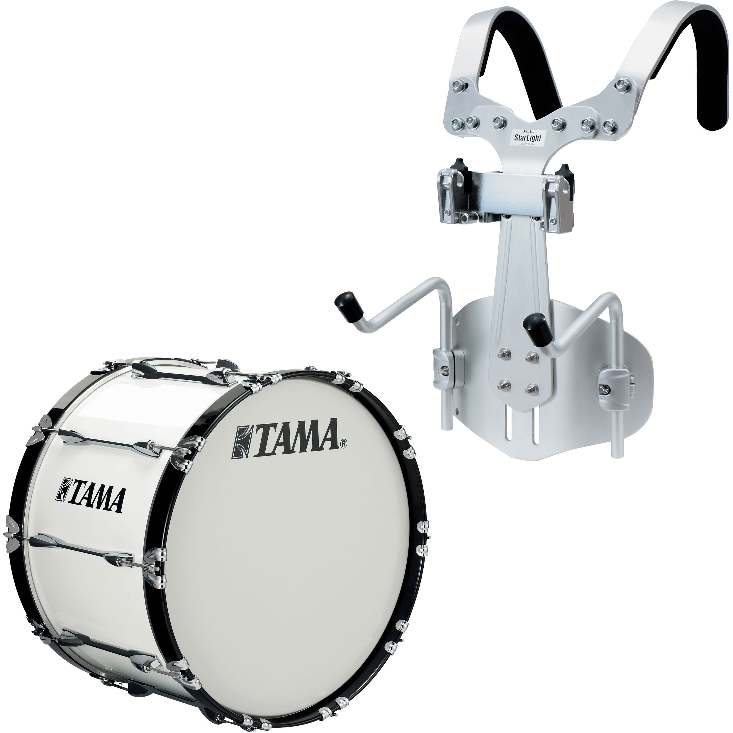 "Tama 24"" StarLight Marching Bass Drum in Sugar White Wrap with Carrier"