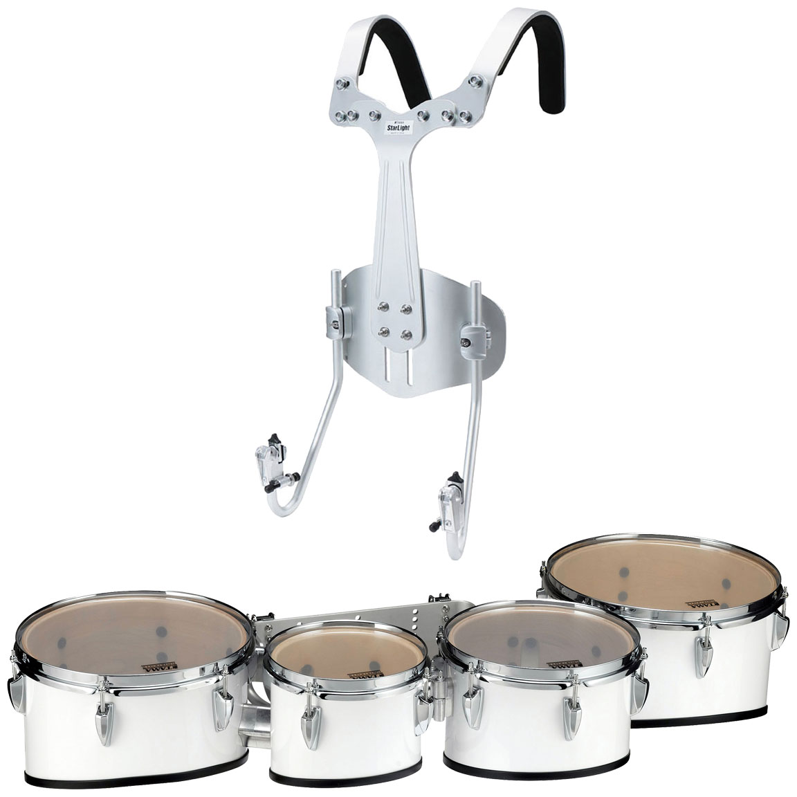 """Tama 8-10-12-13"""" StarLight Marching Tenors in Sugar White Wrap with Carrier"""