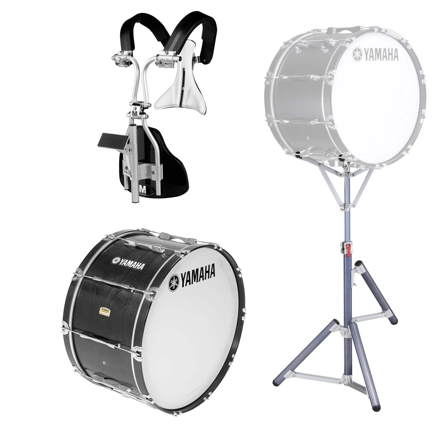 """Yamaha 14"""" 8300 Field-Corps Marching Bass Drum with MonoPosto Carrier and Stand"""