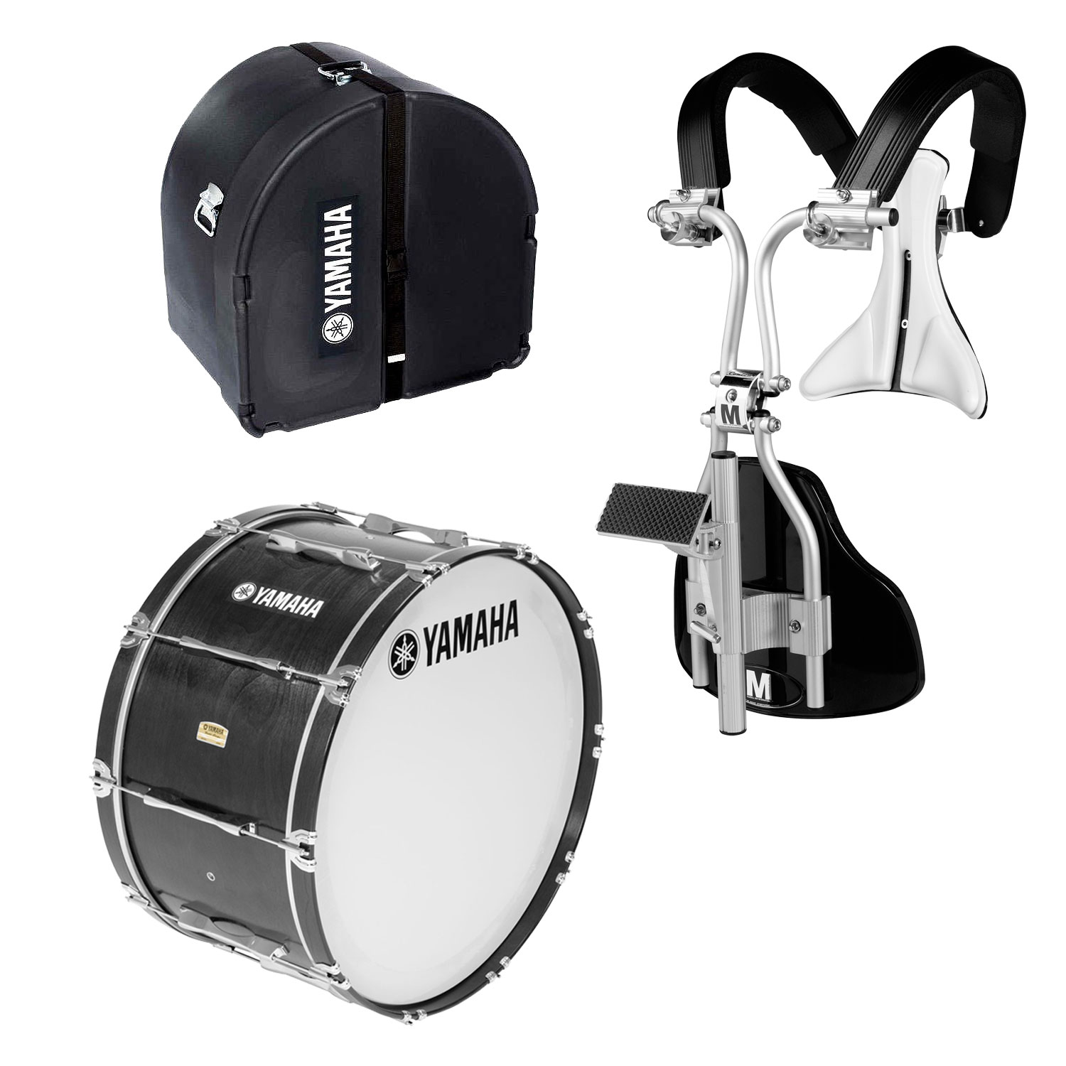 """Yamaha 14"""" 8300 Field-Corps Marching Bass Drum with MonoPosto Carrier and Case"""