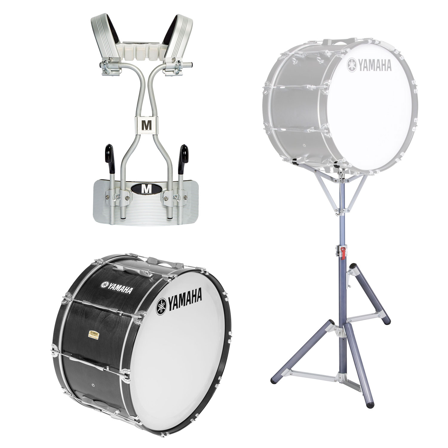 """Yamaha 14"""" 8300 Field-Corps Marching Bass Drum with Tube Carrier and Stand"""