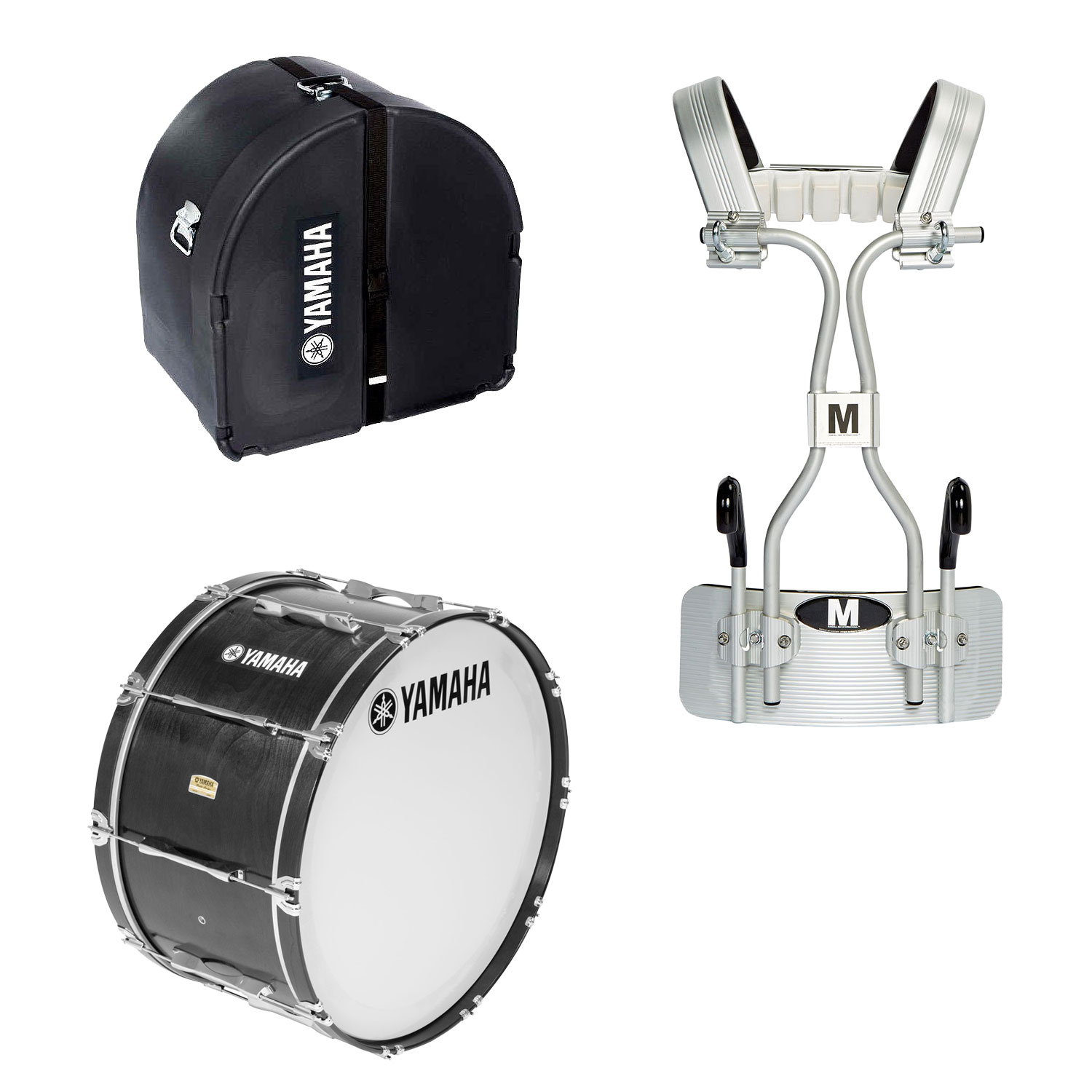 """Yamaha 14"""" 8300 Field-Corps Marching Bass Drum with Tube Carrier and Case"""