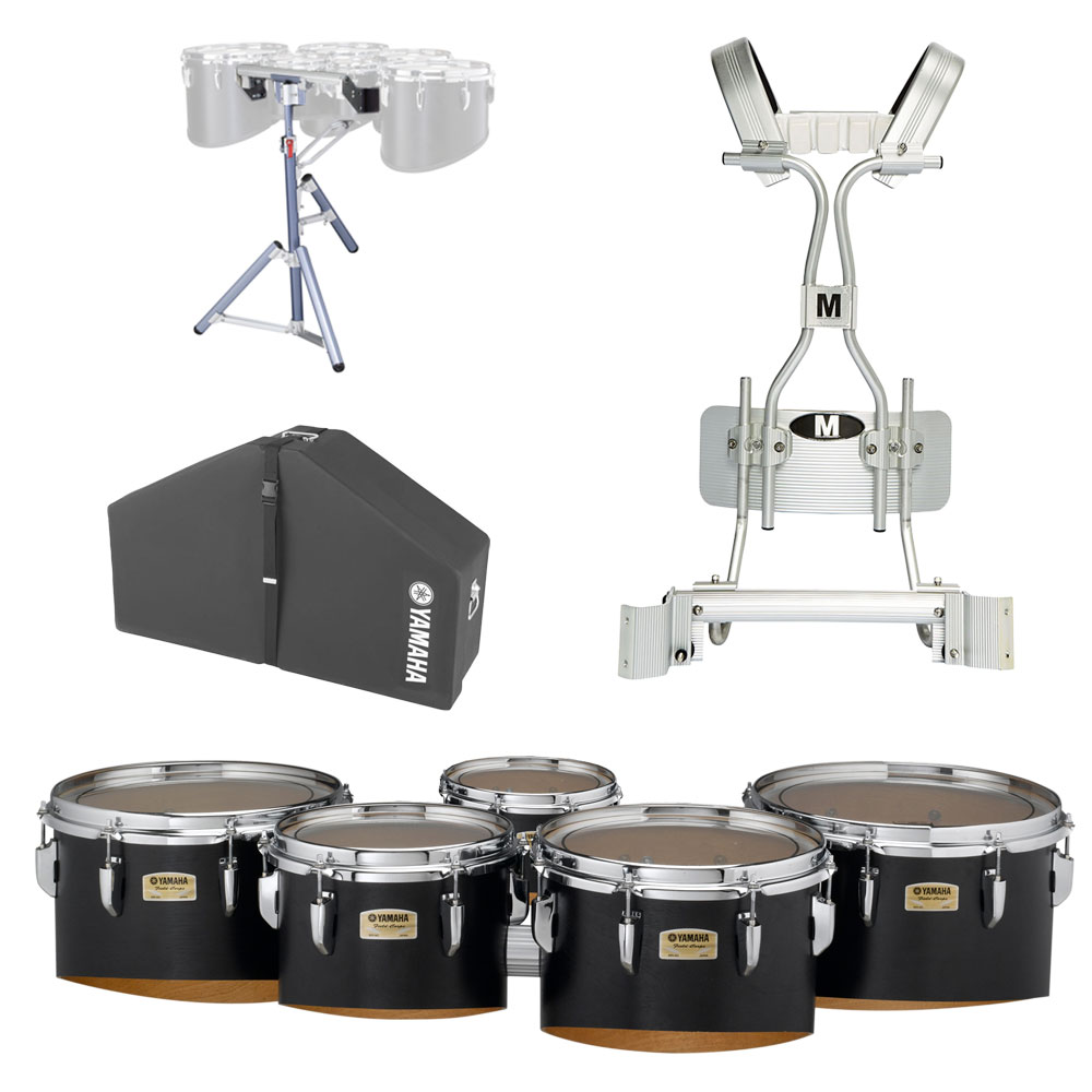 """Yamaha 6-8-10-12-13"""" 8300 Field-Corps Marching Tenors with Tube Carrier, Case, and Stand"""