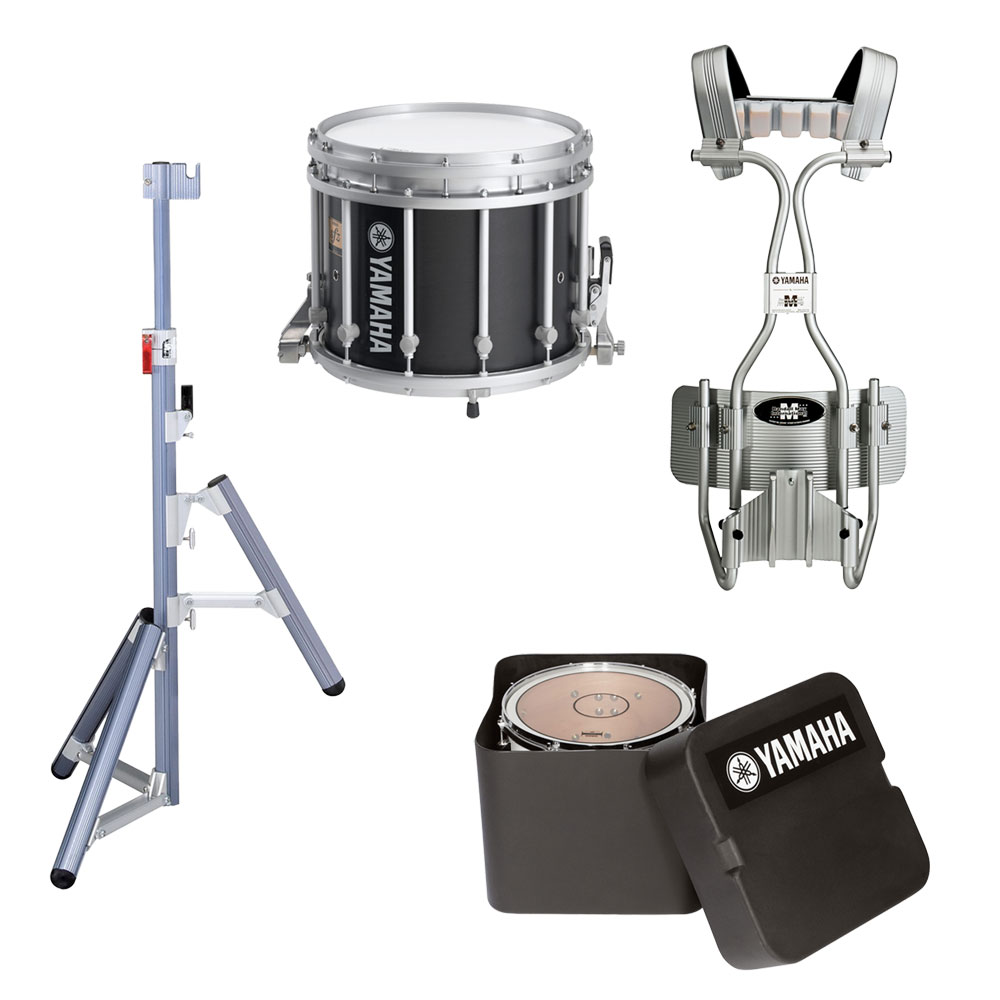 "Yamaha 14"" (Diameter) x 12"" (Deep) 9300 SFZ Marching Snare Drum with Chrome Hardware, Tube Carrier, Case, and Stand"