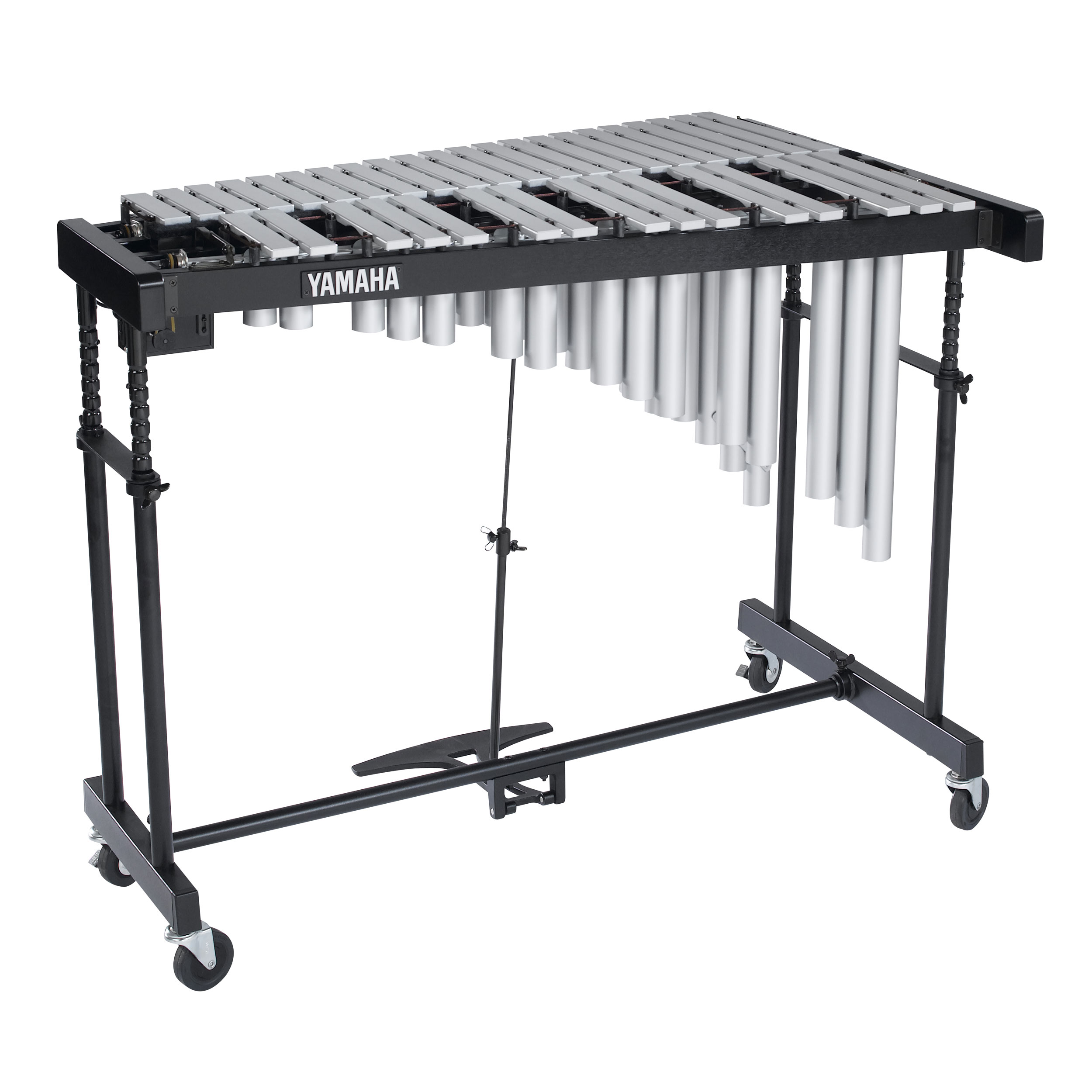 "Yamaha 3 Octave Silver Standard Vibraphone - 1 1/4"" non-graduated bars and silver resonators with Cover"